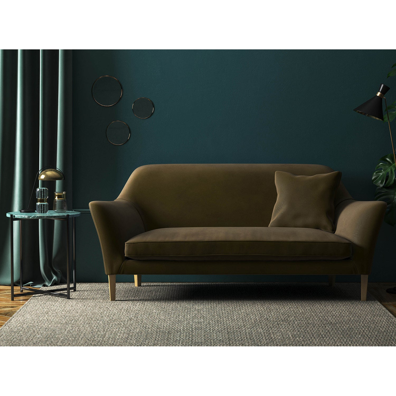 Sofa in a khaki green velvet upholstery fabric with a stain resistant finish