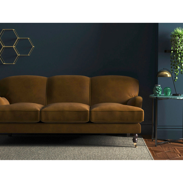 Brown velvet sofa with a stain resistant finish