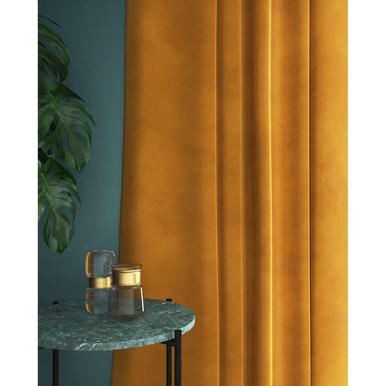 Curtain in a tropical orange plain velvet fabric with a stain resistant finish