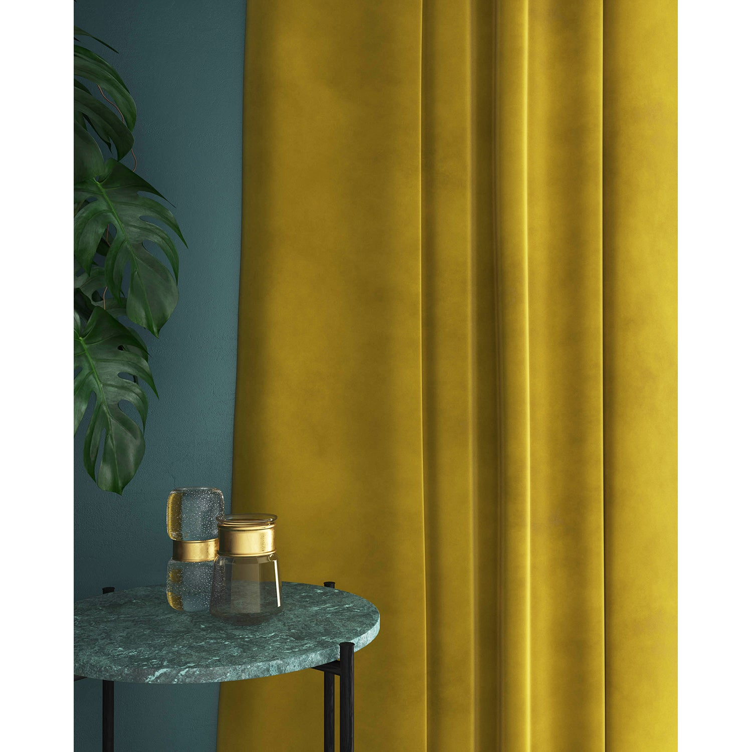 Curtain in a golden yellow velvet fabric with a stain resistant finish