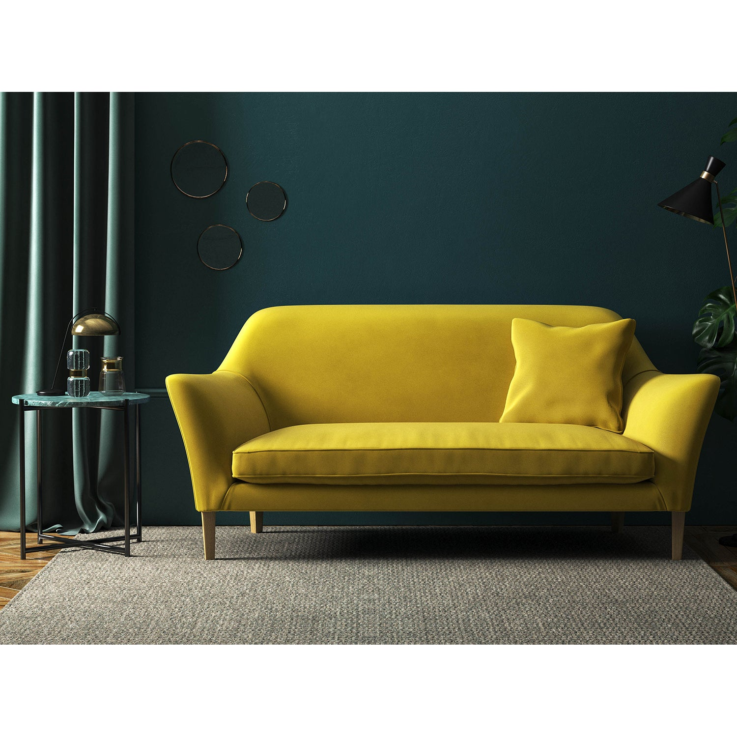 Sofa upholstered in a yellow velvet fabric for domestic and contract use