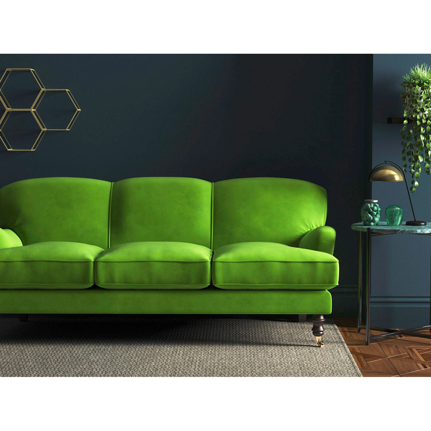 Bright green velvet sofa with a stain resistant finish