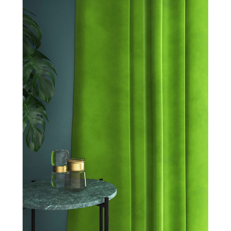 Bright green velvet curtains with a stain resistant finish