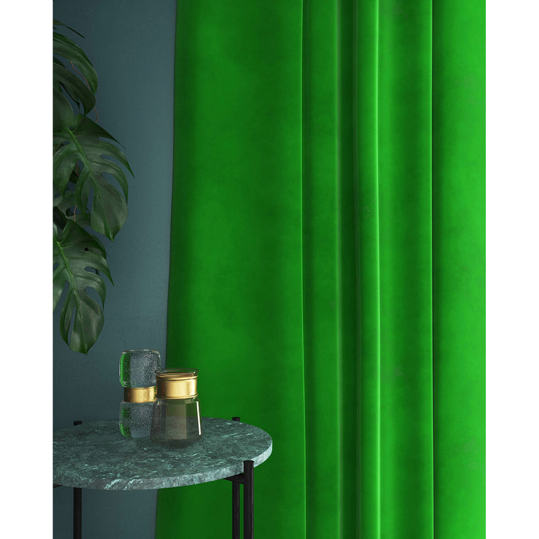 Neon green velvet curtains with a stain resistant finish
