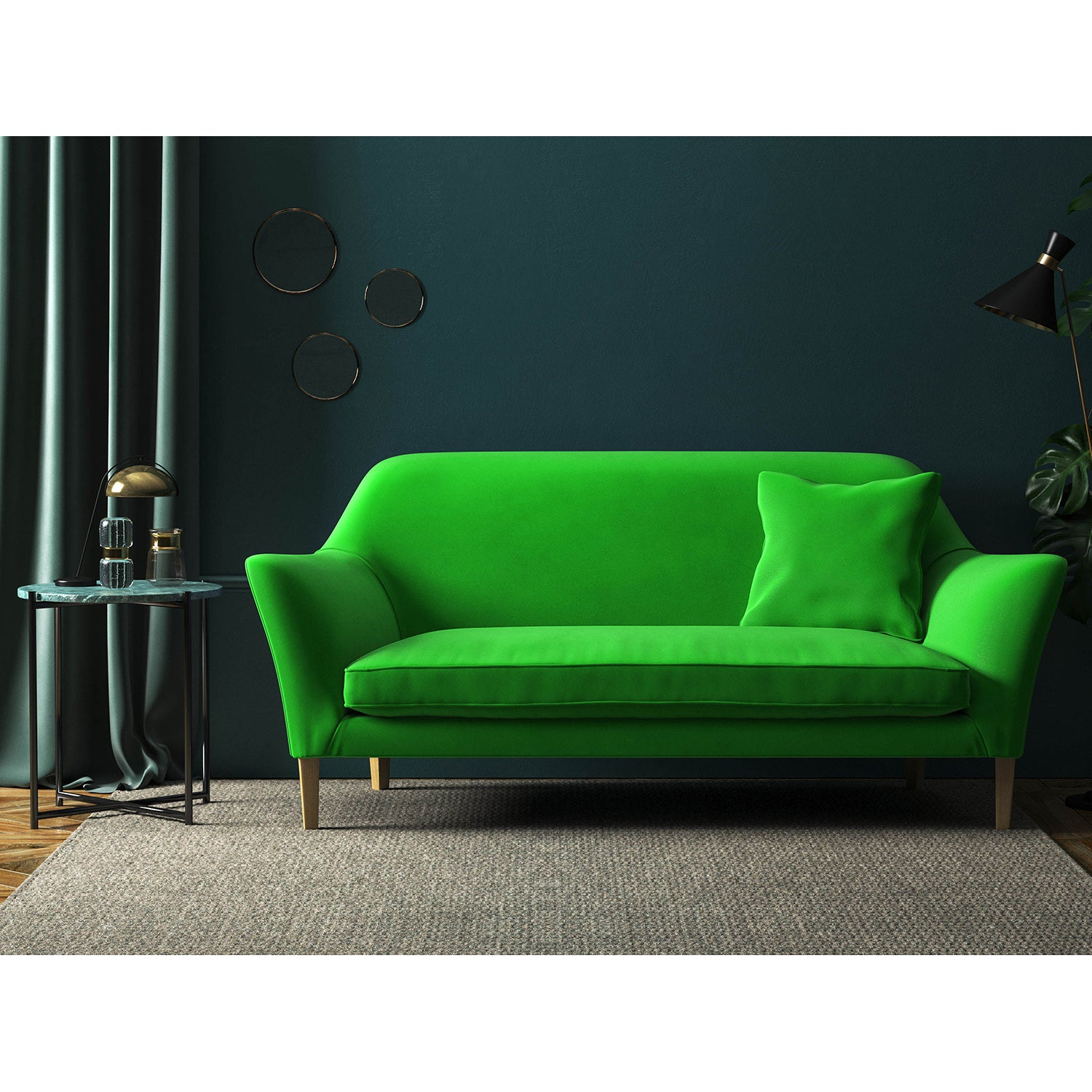 Neon green velvet sofa with a stain resistant finish