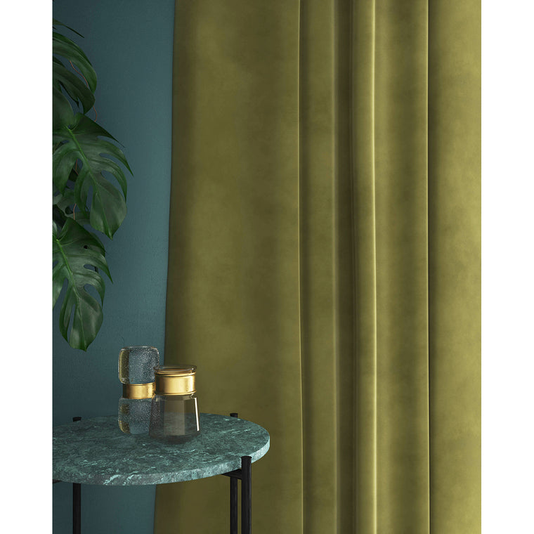 Curtain in a sage green velvet fabric with a stain resistant finish