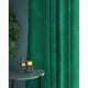Turquoise velvet curtains with a stain resistant finish