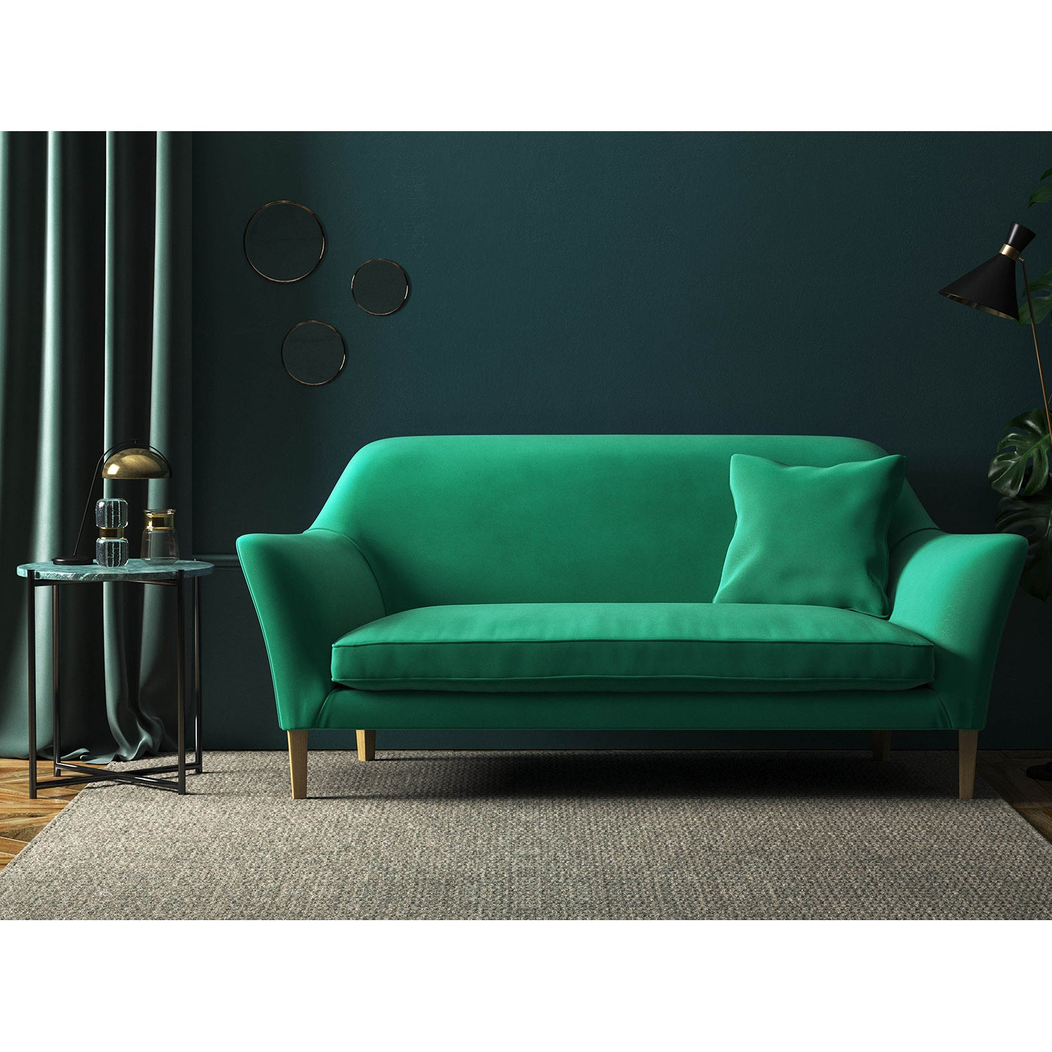 Sofa in a aqua green upholstery fabric for domestic and contract use