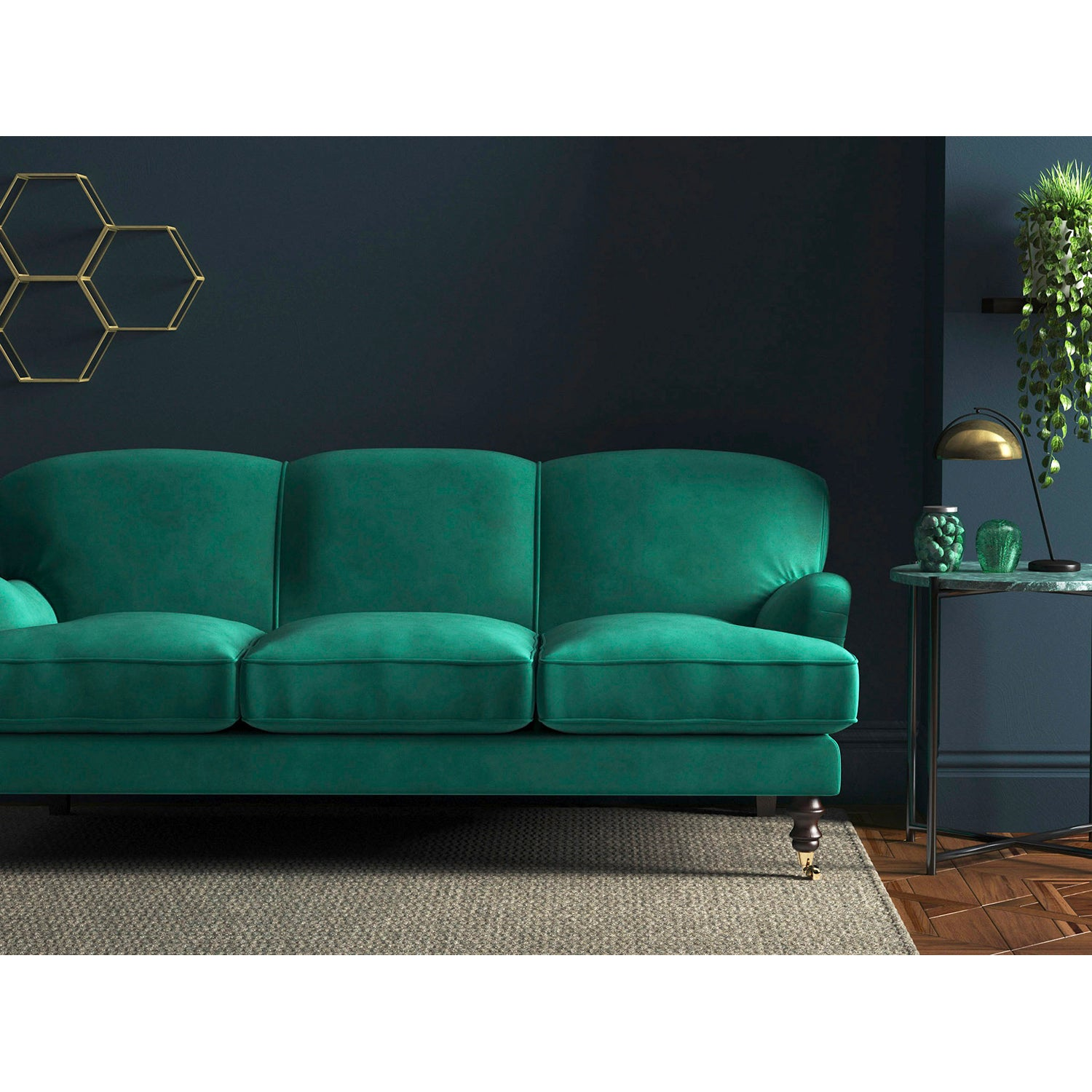 Sofa in a turquoise velvet upholstery fabric for domestic and contract use