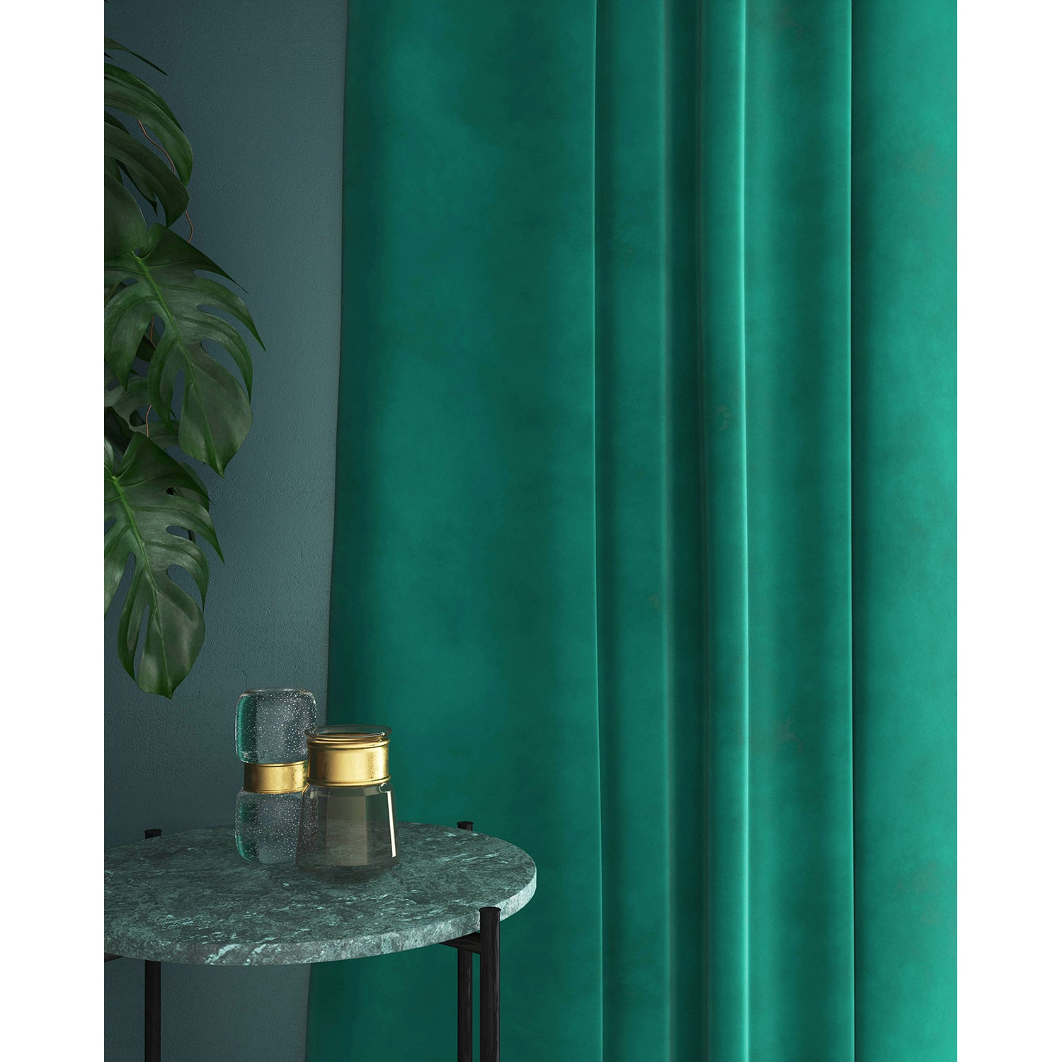 Curtain in a turquoise velvet fabric with a stain resistant finish