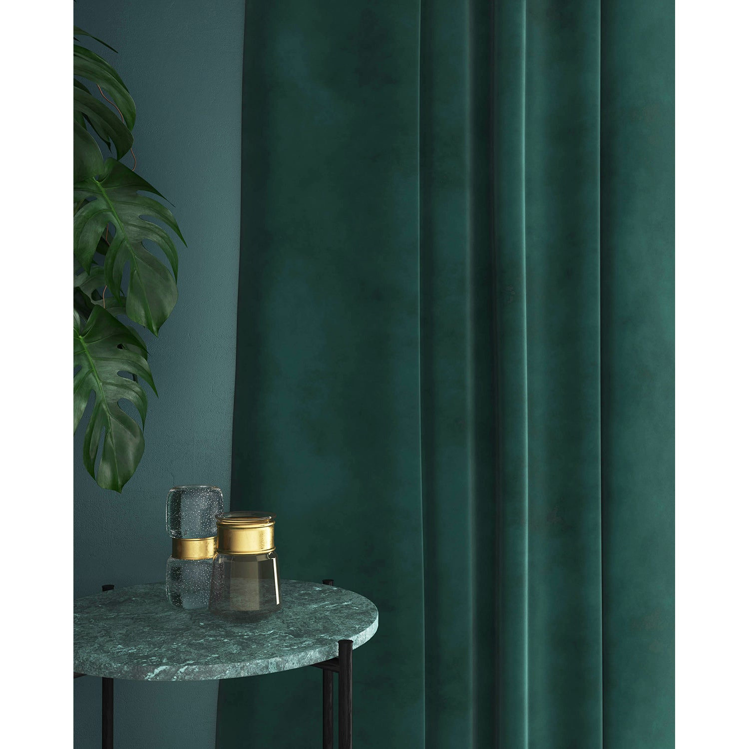 Curtain in a ocean blue velvet fabric with a stain resistant finish