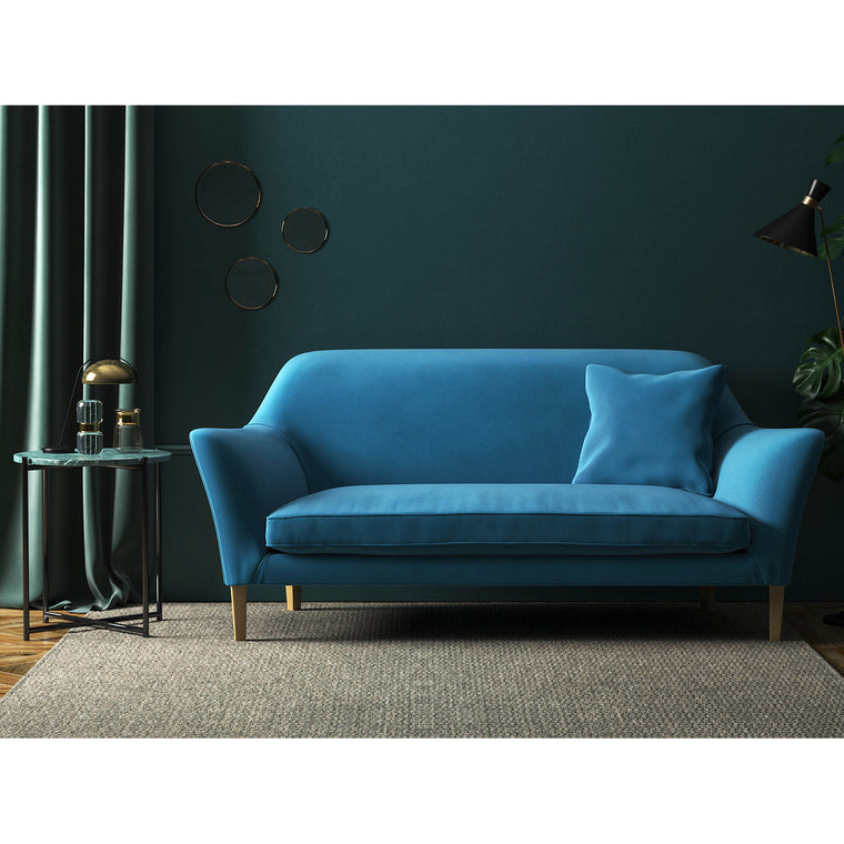 Sofa in a sky blue velvet upholstery fabric with a stain resistant finish