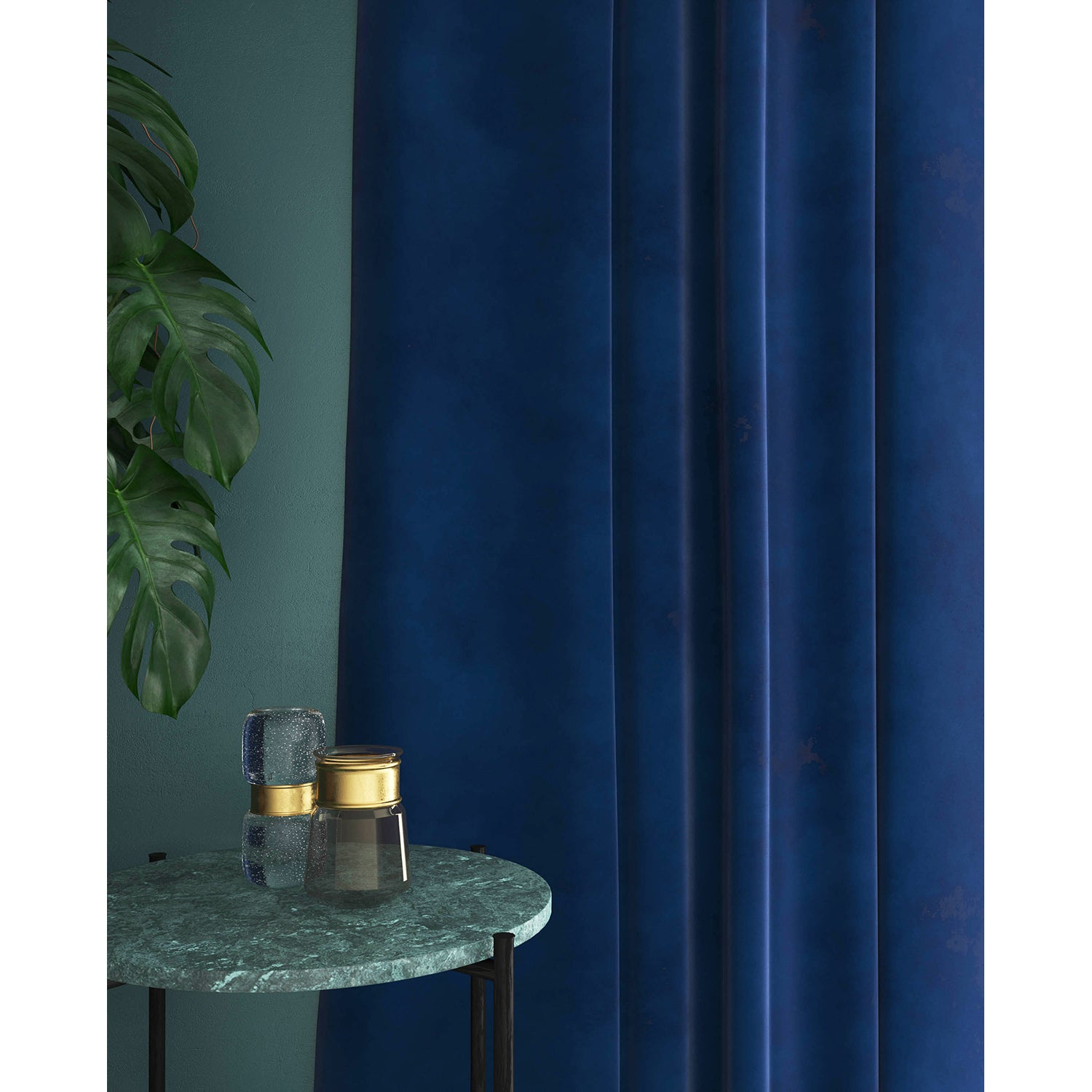 Royal Blue velvet curtains with a stain resistant finish