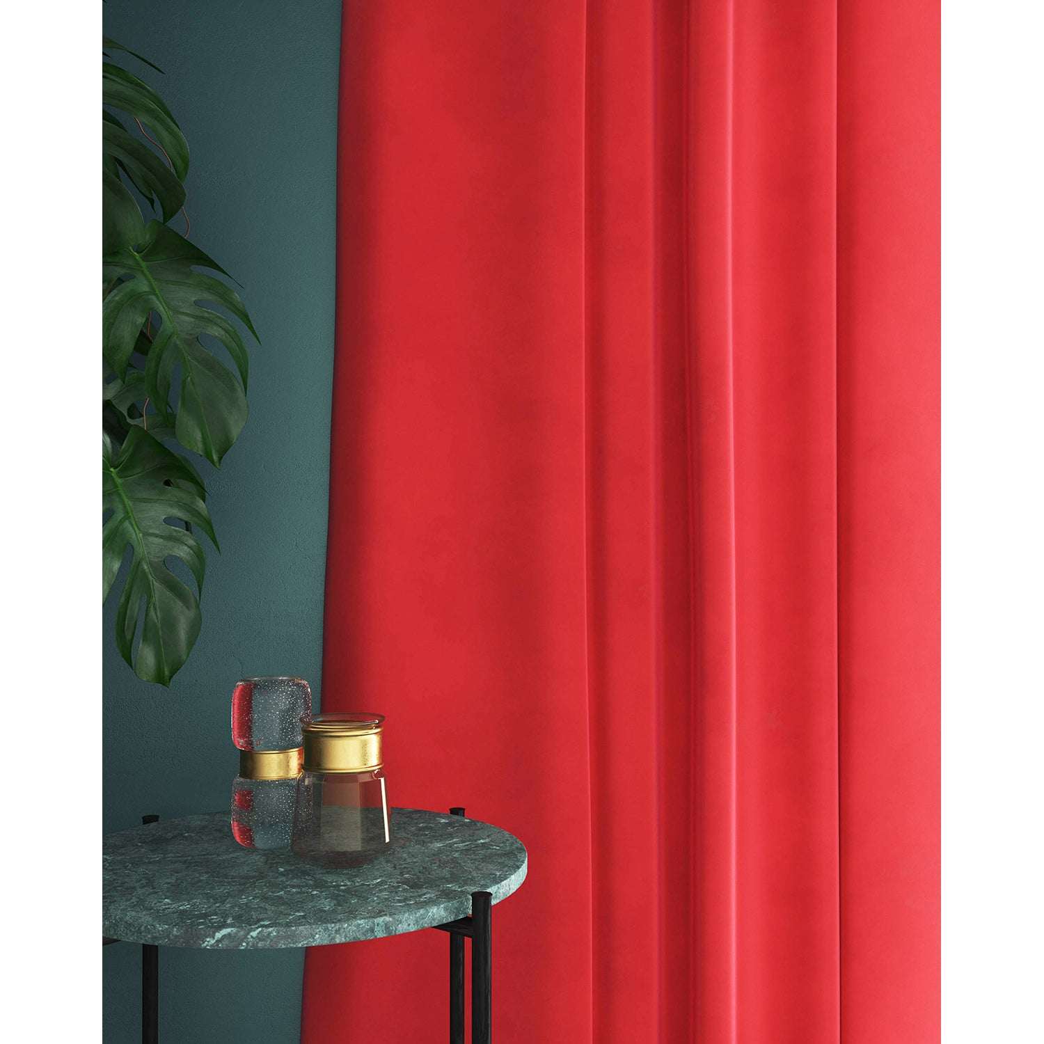 Curtain in a bright orange velvet fabric with a stain resistant finish