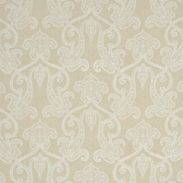 Light neutral linen fabric with white printed paisley design, suitable for both curtains and upholstery.