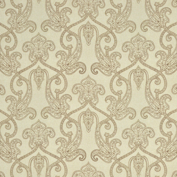Light linen fabric for curtains and upholstery with red toned brown paisley design.