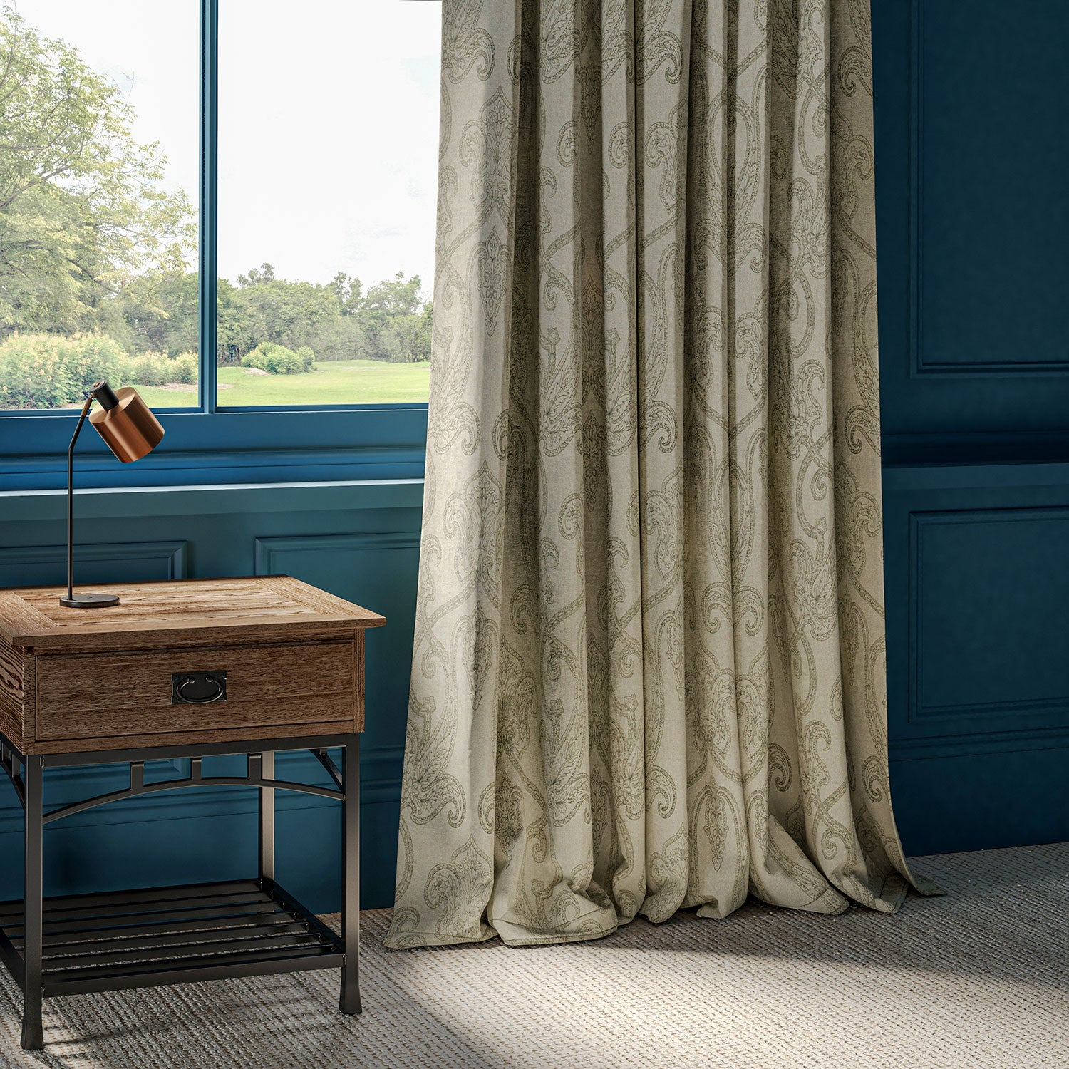 Neutral linen curtains with large paisley inspired dark grey design.