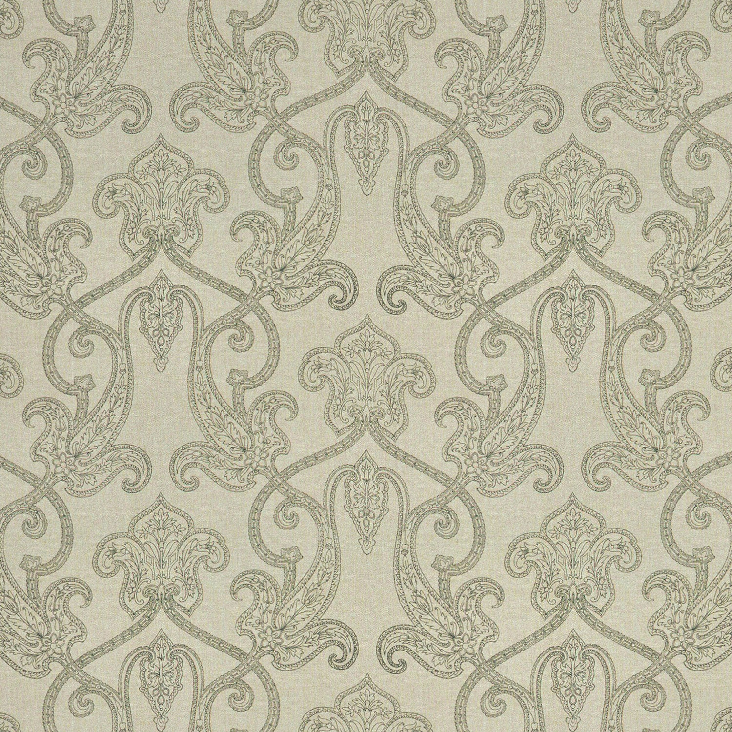 Light neutral linen fabric with dark grey printed paisley design suitable for both curtains and upholstery.