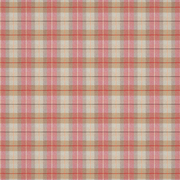 Light red and neutral wool check fabric suitable for curtains and upholstery.