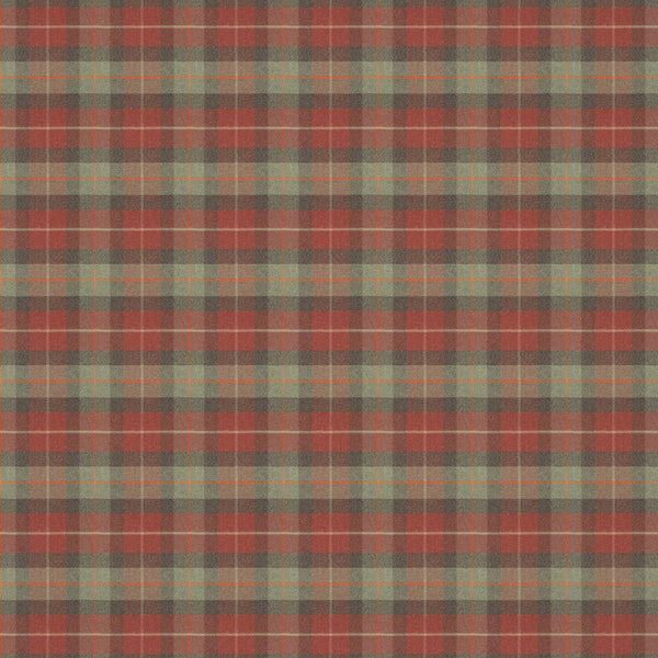 Red and green wool check fabric suitable for curtains and upholstery.