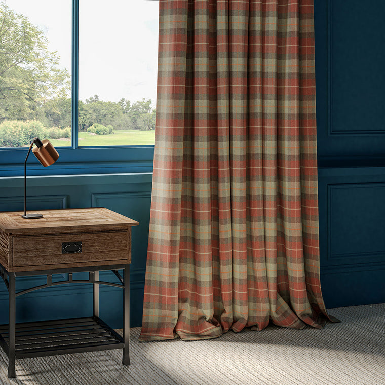 Wool curtains with a red and green check design.