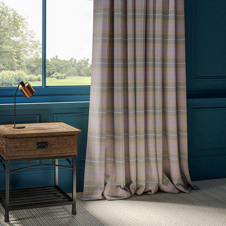 Curtains in a purple and grey wool check fabric.