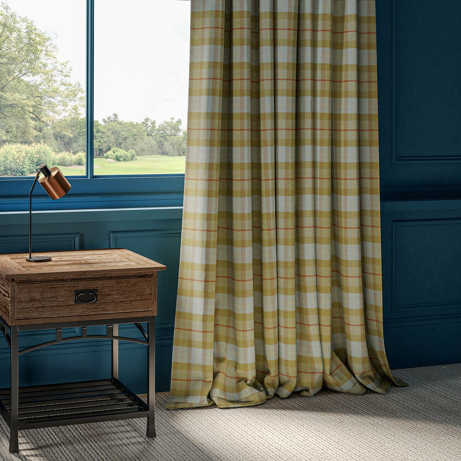 Curtains in a green and blue wool check.