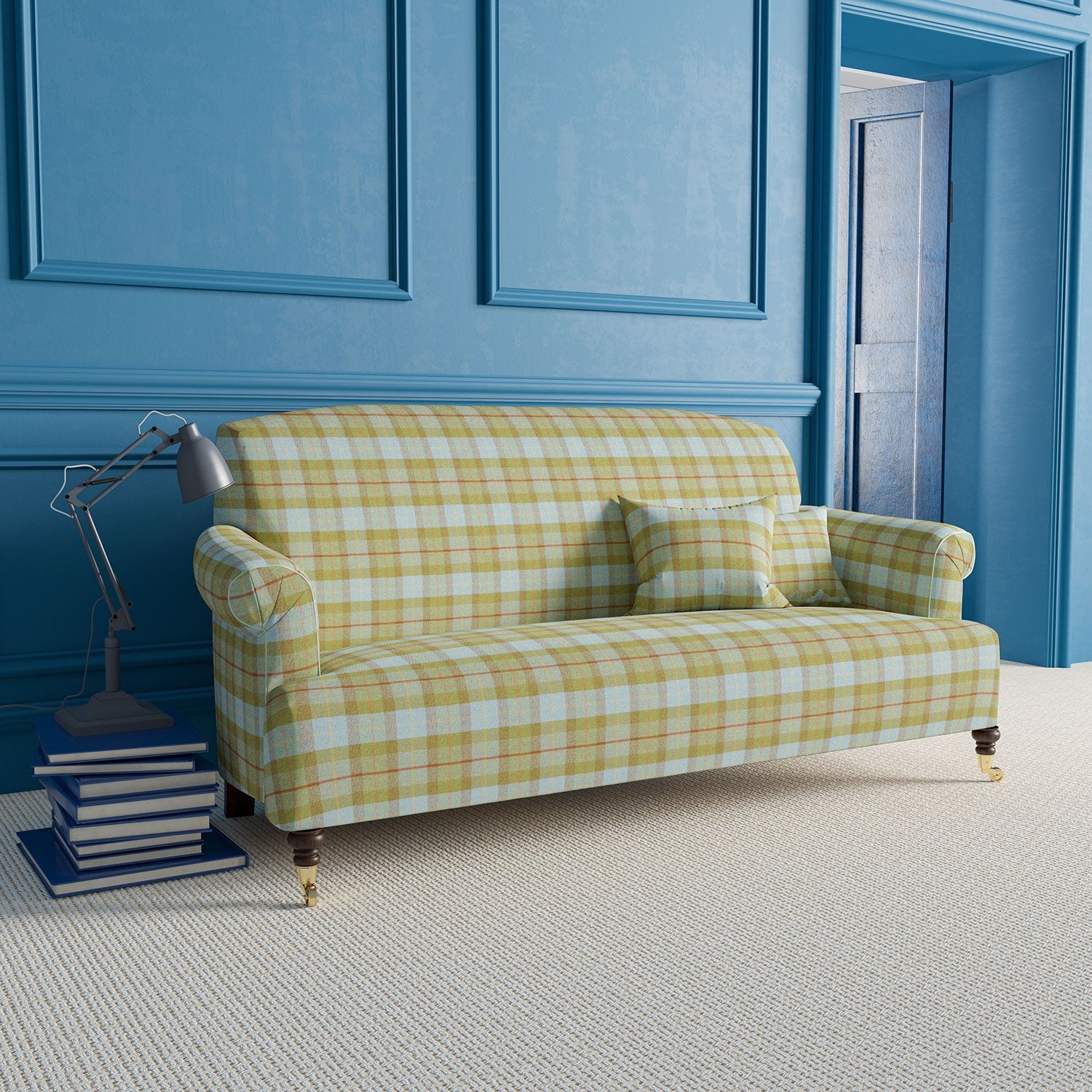 Sofa upholstered in a wool fabric with green and blue plaid design.