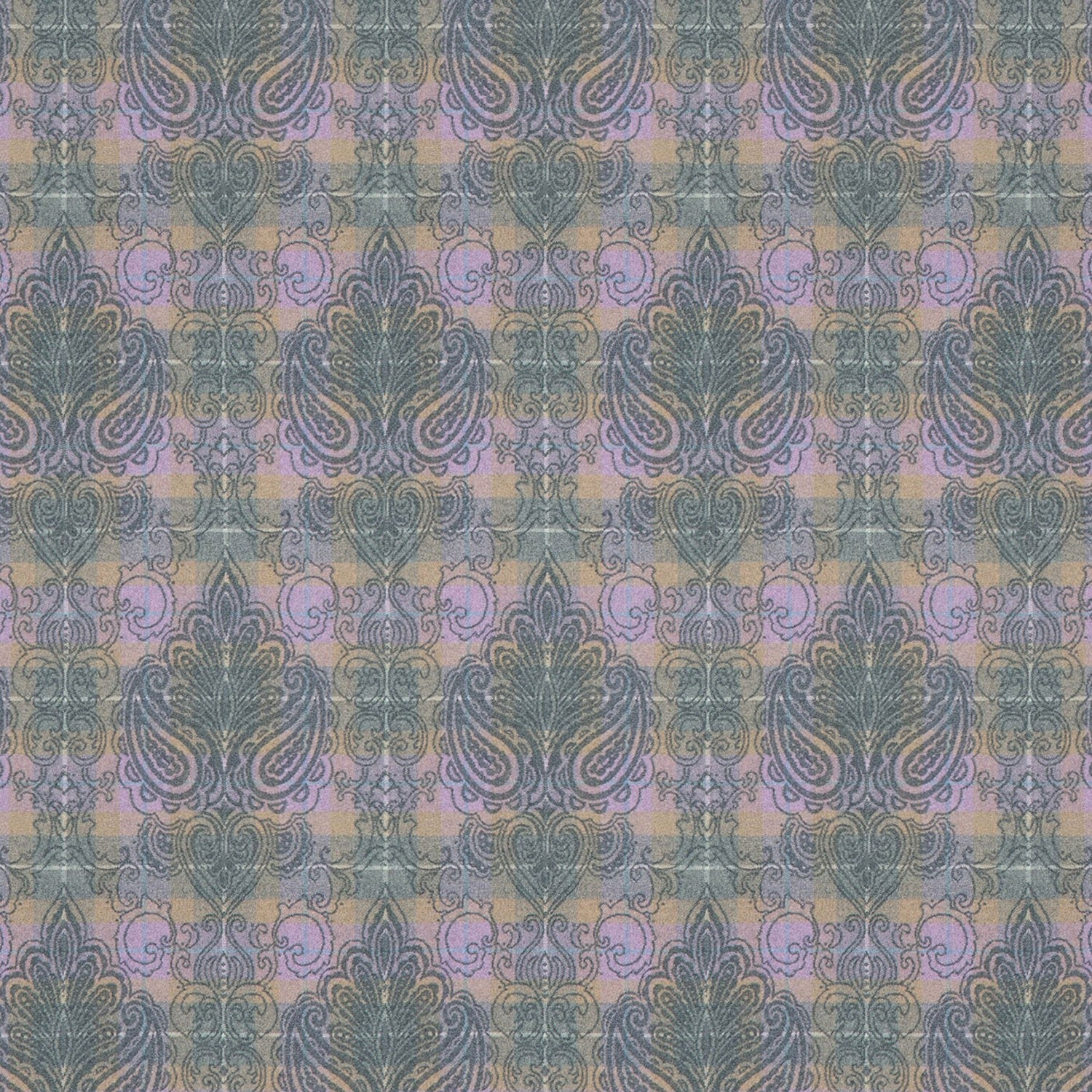 Purple wool check fabric with dark grey woven damask design.