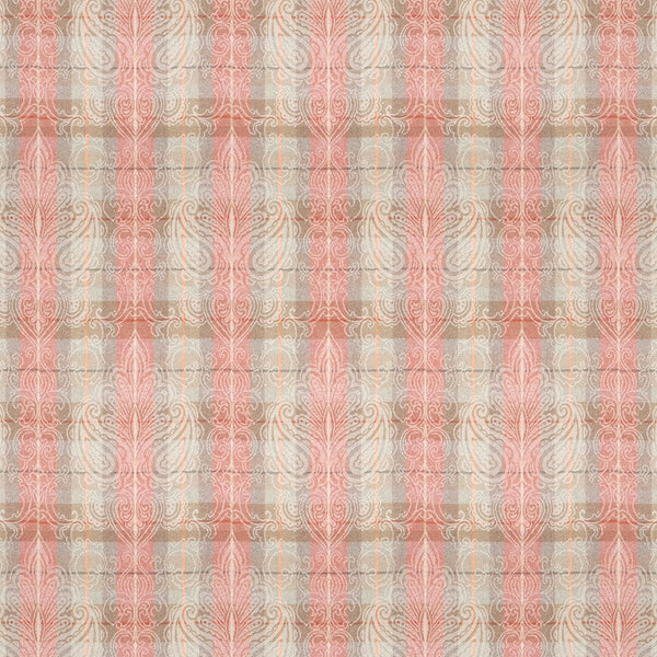 Wool fabric with red and neutral colour palette and light woven large damask design.