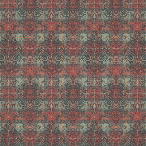 Red and green wool fabric suitable for curtains and upholstery with large dark grey damask design.