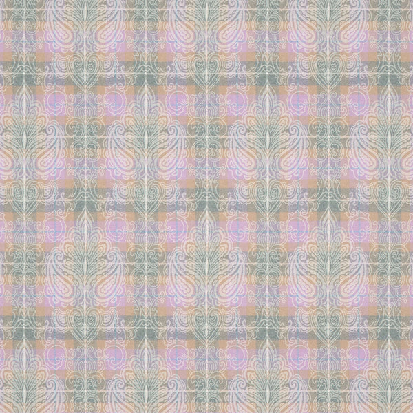 Fabric suitable for both curtains and upholstery with light purple wool check and woven white large damask design.