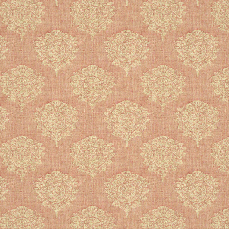 Light red fabric suitable for curtains and upholstery with neutral woven blossom design.