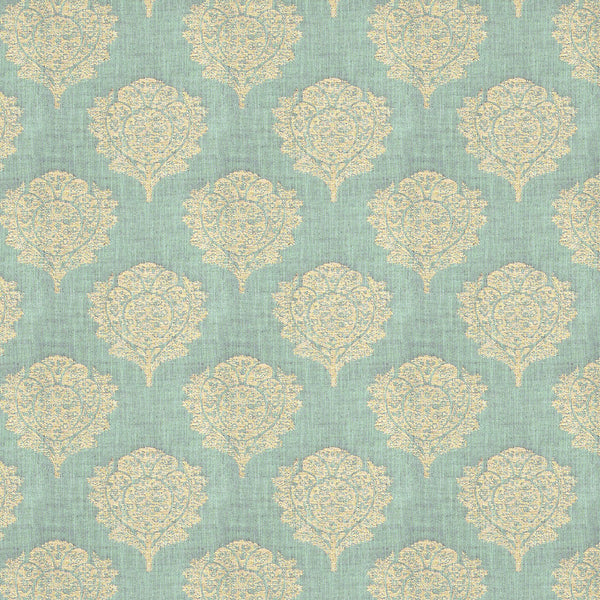Blue fabric suitable for both upholstery and curtains with neutral blossom, leaf style design.
