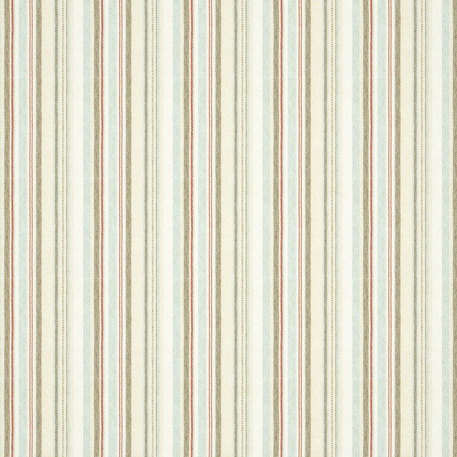 Cotton and linen blend fabric suitable for curtains and upholstery with neutral and baby blue stripes.