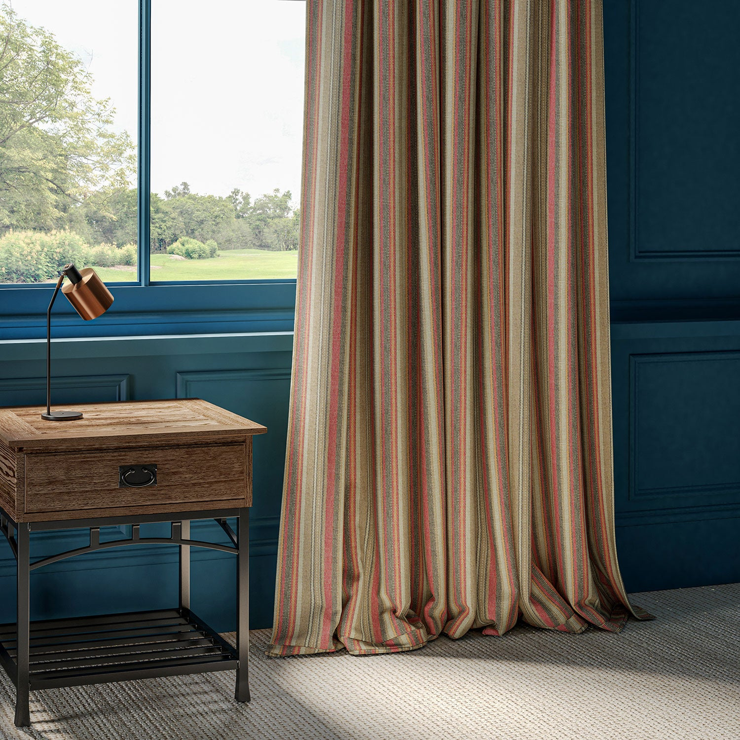 Curtains with multi-coloured vertical stripe.