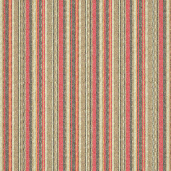 Vertical stripe fabric suitable for both curtains and upholstery. Red, brown and neutral colours throughout the design.