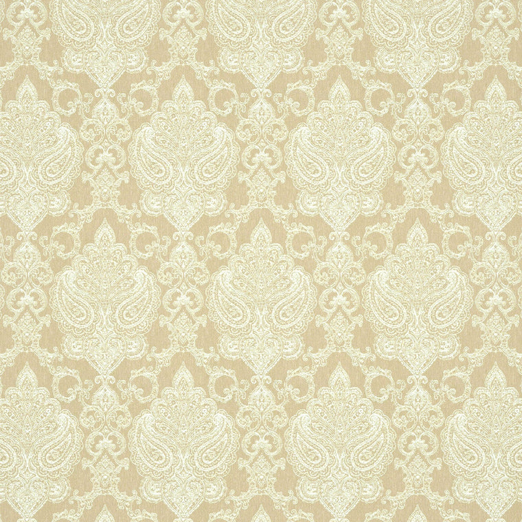 Fabric suitable for curtains and upholstery, neutral backgroudn with large white damask print.