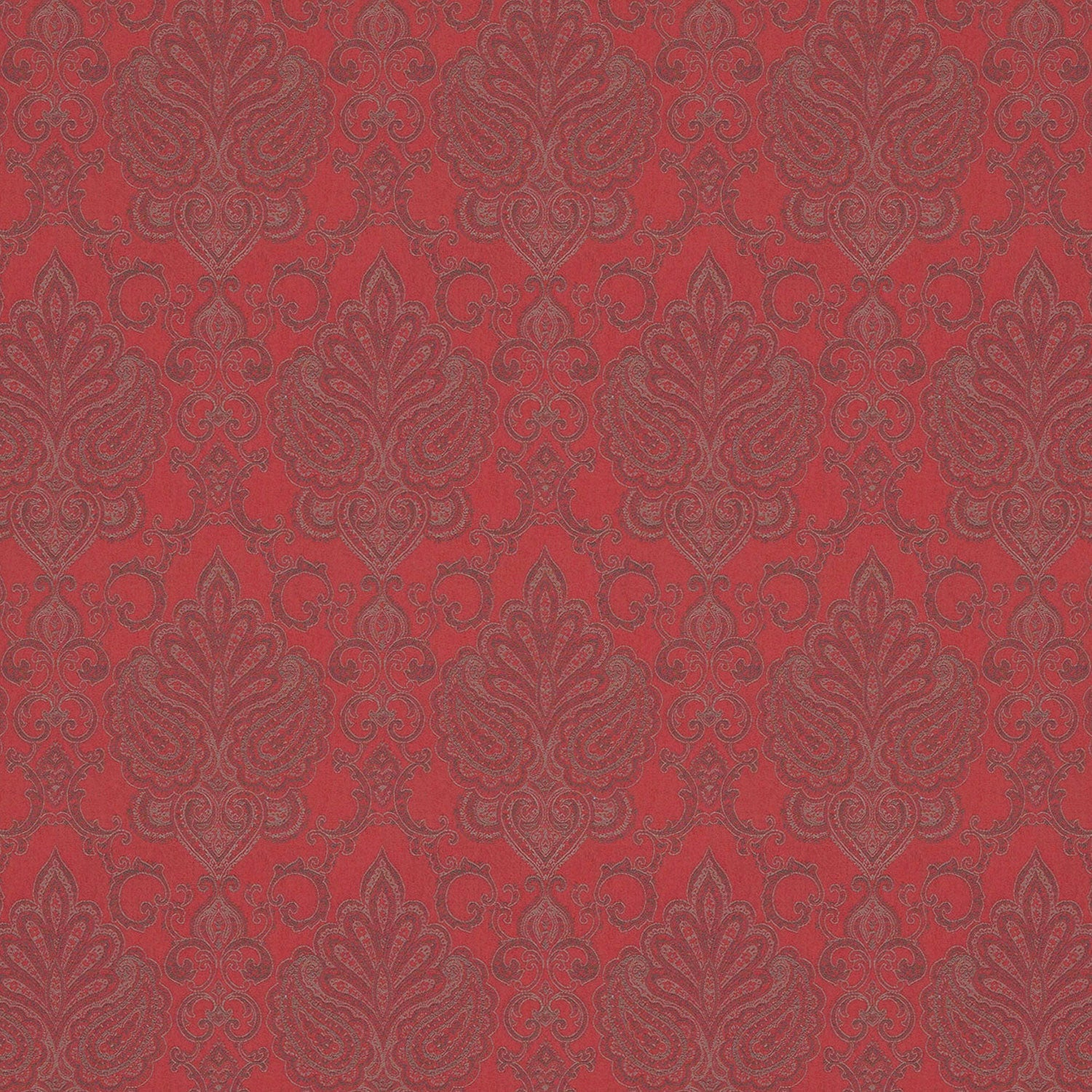 Red fabric for curtains and upholstery with mauve and grey large scale damask design.