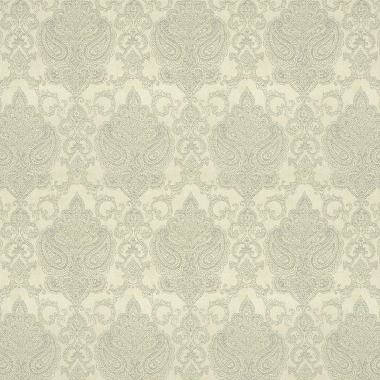 Fabric suitable for both upholstery and curtains, neutral background with large grey damask print.