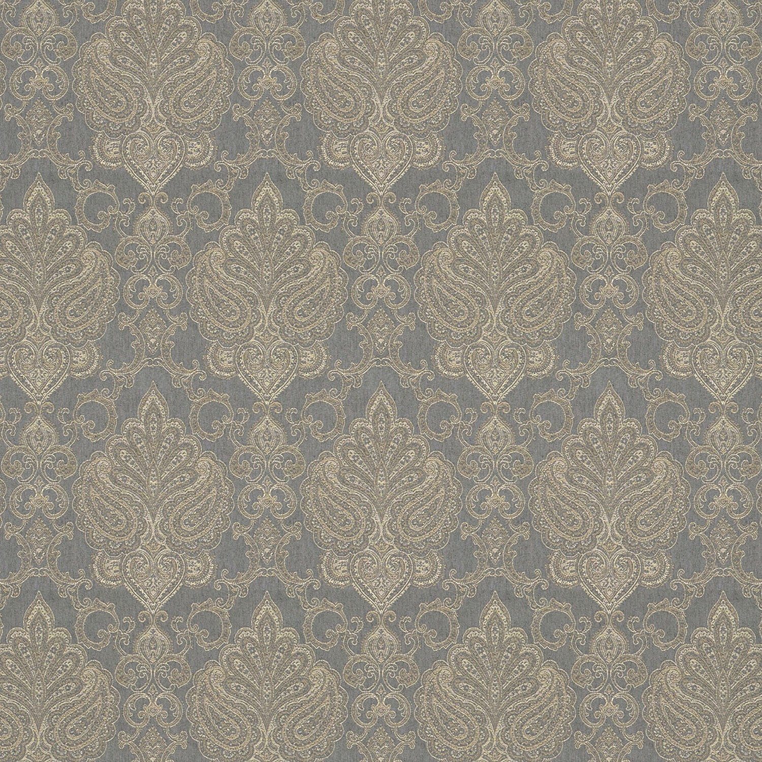 Blue fabric suitable for curtains and upholstery with neutral woven large scale damask design.