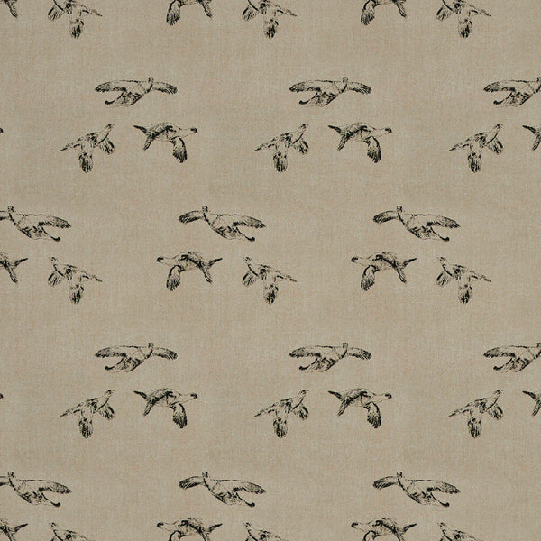 Linen fabric suitable for curtains and upholstery. Neutral background with grey illustrated Grouse design.