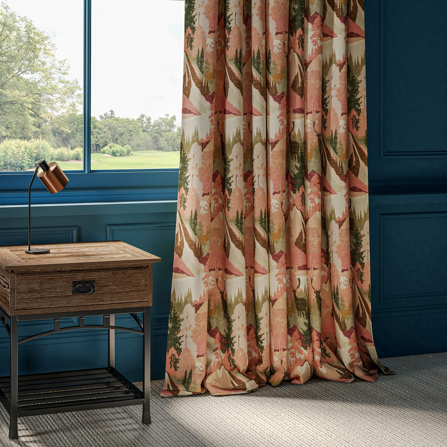Curtains in a cotton velvet with terracotta and green mountain scene and green Stag design.