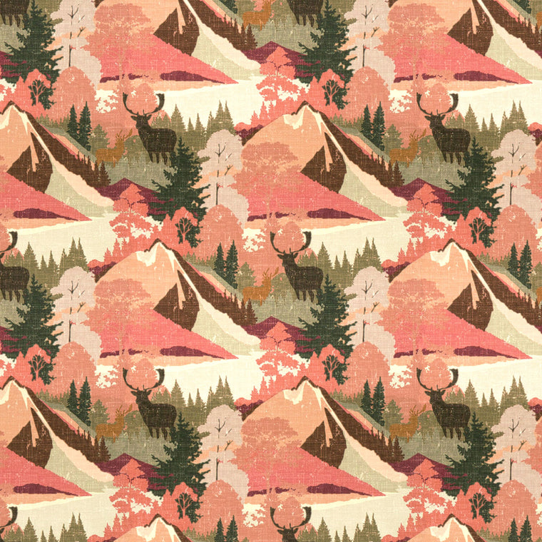 Luxury cotton velvet suitable for both upholstery and curtains. Design features red mountains, green trees and a brown Stag.