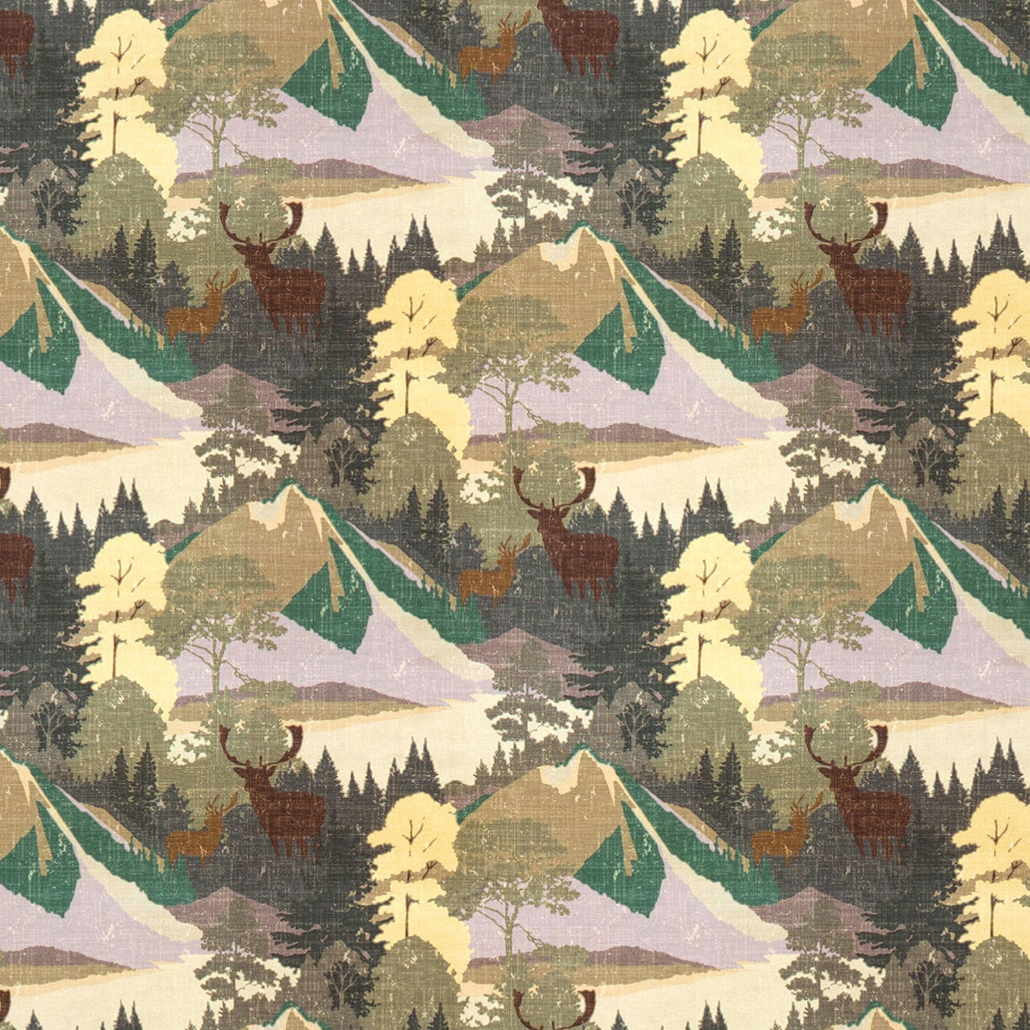 Cotton velvet fabric with green and lilac mountain scene and brown Stag design. Suitable for curtains and upholstery.
