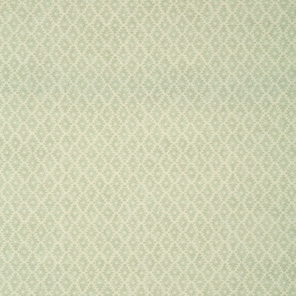Fabric sample of a light green and neutral printed linen fabric for curtains and upholstery