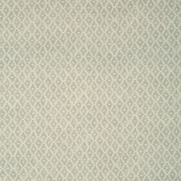 Fabric sample of a grey and neutral printed linen fabric for curtains and upholstery