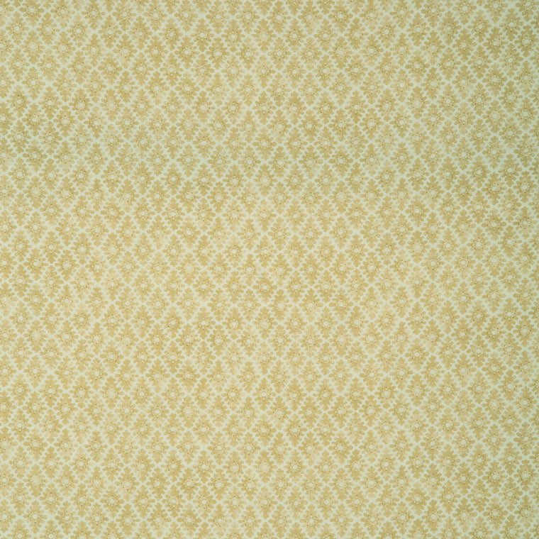 Fabric sample of a yellow and neutral printed linen fabric for curtains and upholstery