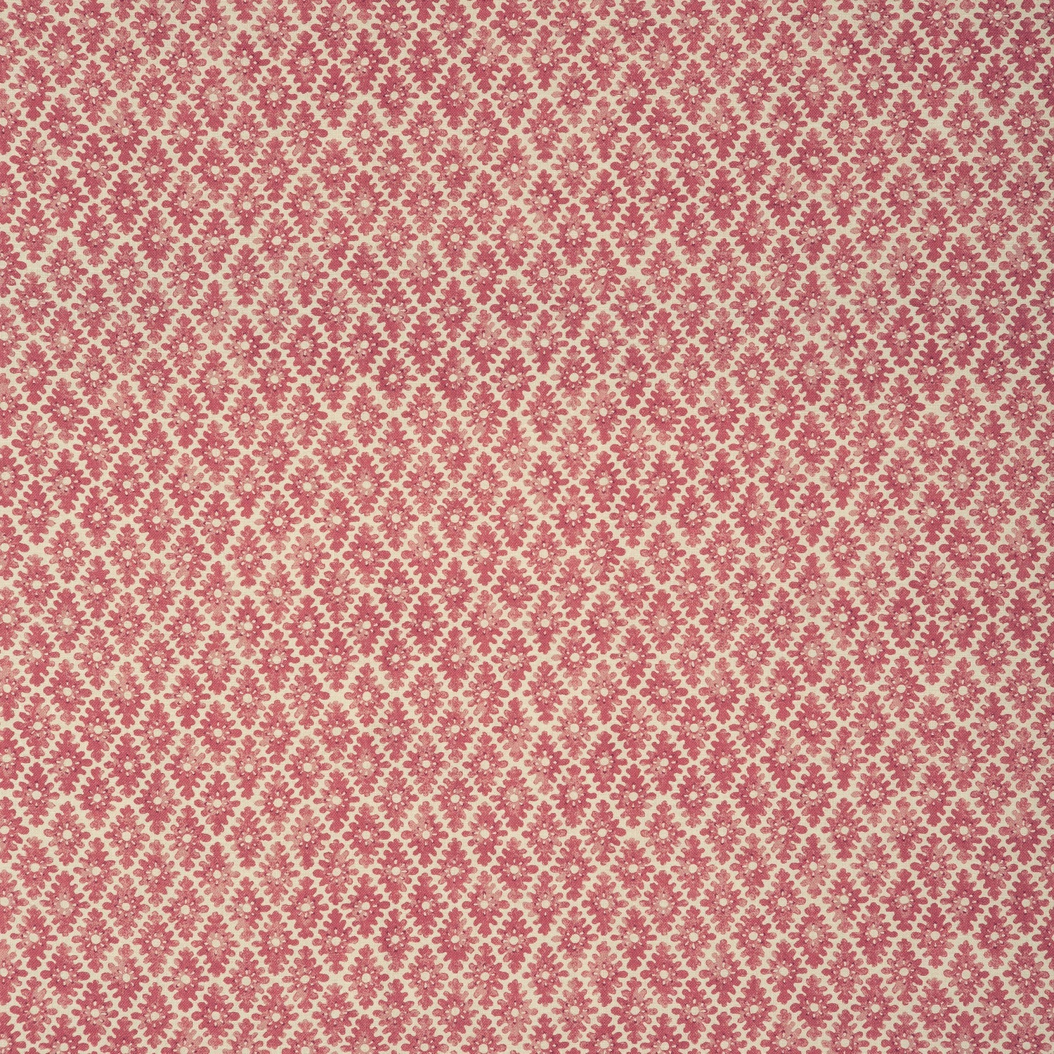 Fabric sample of a dark pink and neutral printed linen fabric for curtains and upholstery