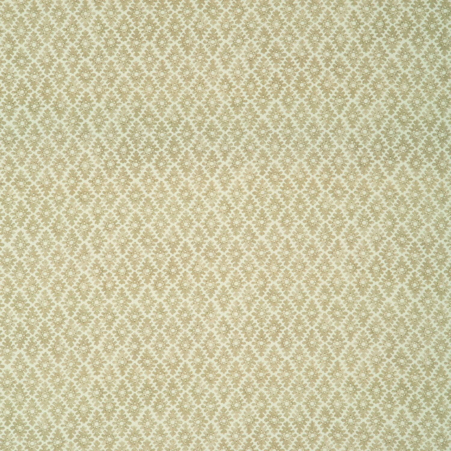 Fabric sample of a light gold and neutral printed linen fabric for curtains and upholstery
